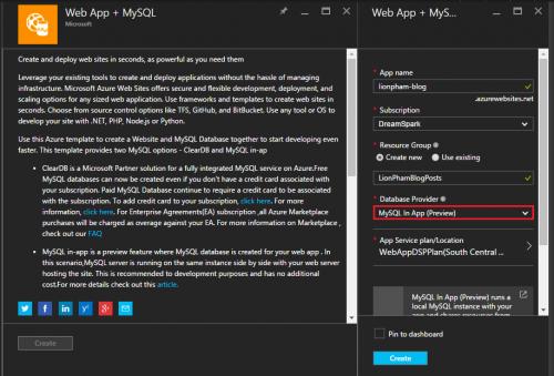 Azure Web App + MySQL